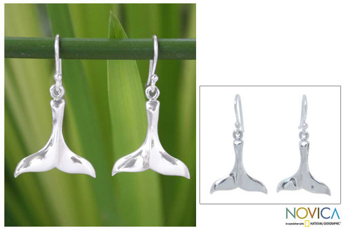 Sterling Silver Dangle Earrings from Thailand 'Glistening Whale'