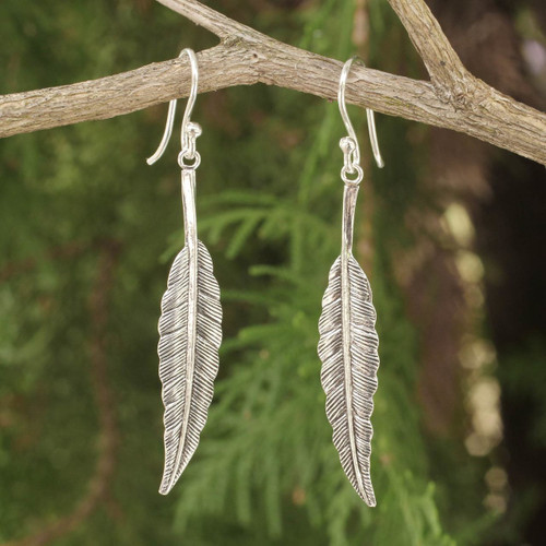 Unique Sterling Silver Dangle Earrings 'Flight'
