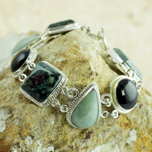 Green and Black Jade on Sterling Silver Bracelet 'Natural Geometry'