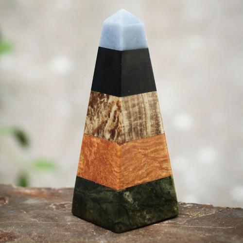 Onyx Obelisk Jasper Serpentine Sculpture Multicolor Peru 'Life Force'