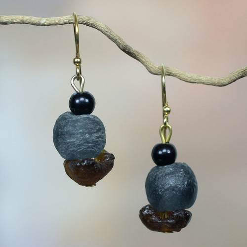 African Handcrafted Recycled Glass Dangle Earrings 'Magic'