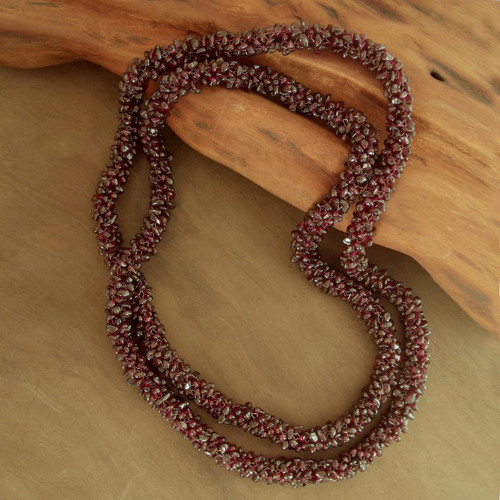 Beaded Garnet Necklace 'Love's Fortunes'