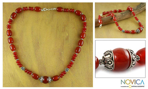 Carnelian strand necklace 'Ardent'