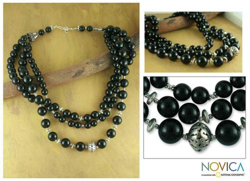 Onyx strand necklace 'Midnight River'