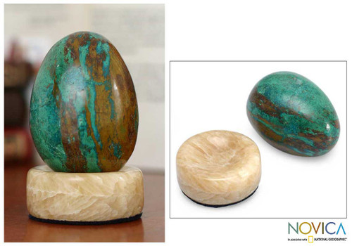 Hand Crafted Chrysocolla Egg Sculpture and Calcite Base 'Green Sea'