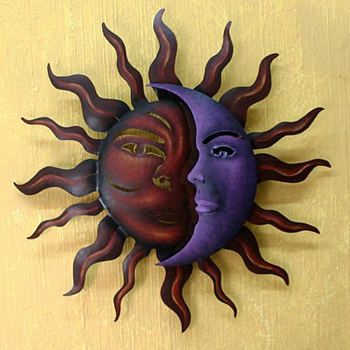 Sun and Moon Steel Wall Art 'Romantic Duality'