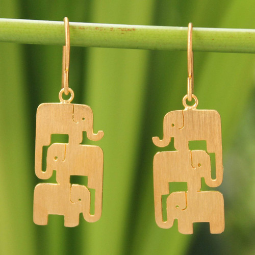 Gold Vermeil Dangle Earrings 'Elephant Stack'
