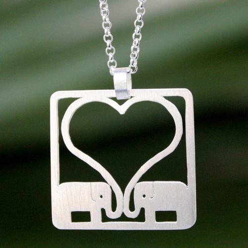 Sterling Silver Elephant Pendant Necklace 'Jumbo Love'