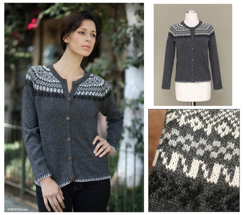 Peruvian Alpaca Wool Cardigan Sweater 'Junin Elegance'