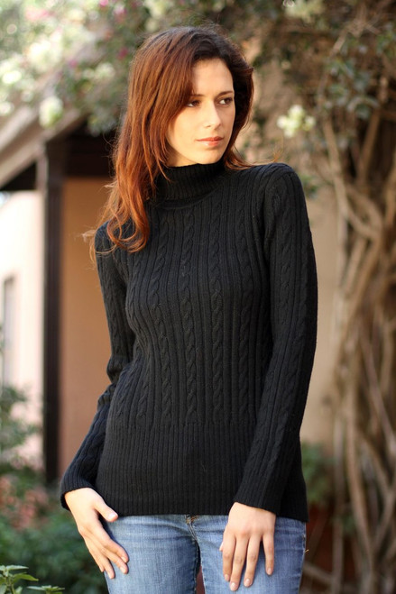 Alpaca Wool Blend Pullover Sweater 'Midnight Warmth'