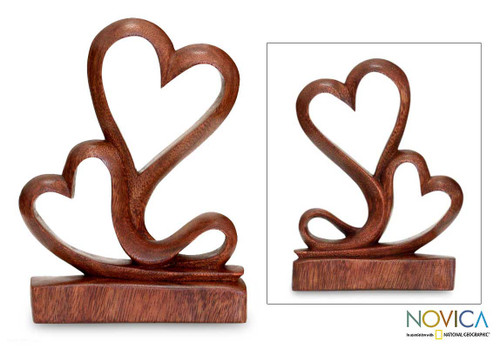 Carved Wood Romantic Sculpture 'Two Hearts'