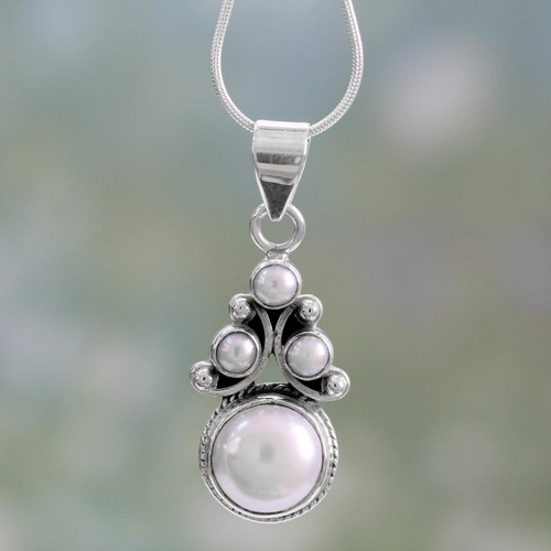 Bridal Pearl Necklace in Sterling Silver from India 'Angel Tree'