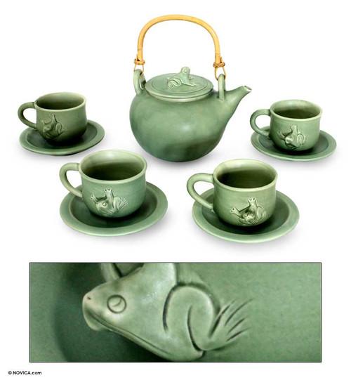 Ceramic tea set 'Rainforest Cheer'