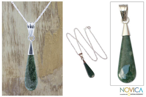 Sterling Silver Pendant Jade Necklace 'Dewdrop'