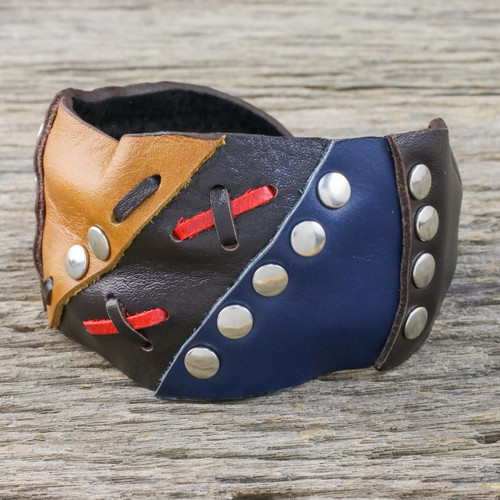 Leather cuff bracelet 'Seafarer'