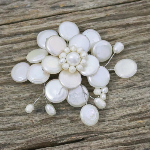 Handmade Floral Pearl Brooch Pin 'Morning Chrysanthemum'