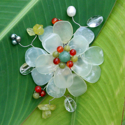 Prehnite and Serpentine Brooch Pin 'Lime Blossom'