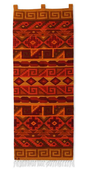 Peruvian Geometric Wool Tapestry Wall Hanging 'Inca Warmth'