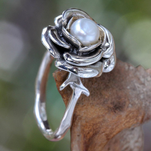 Hand Crafted Sterling Silver and Pearl Flower Ring 'White Rose'