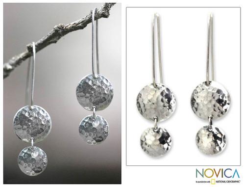 Sterling Silver Dangle Earrings 'Magical Shields'