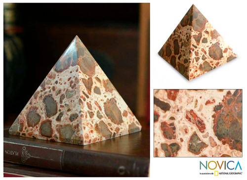 Hand Made Leopard Jasper Gemstone Pyramid Sculpture 'Fortress'