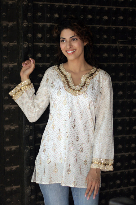 Fair Trade Cotton Tunic Top Long Sleeve Blouse 'Golden Glamour'