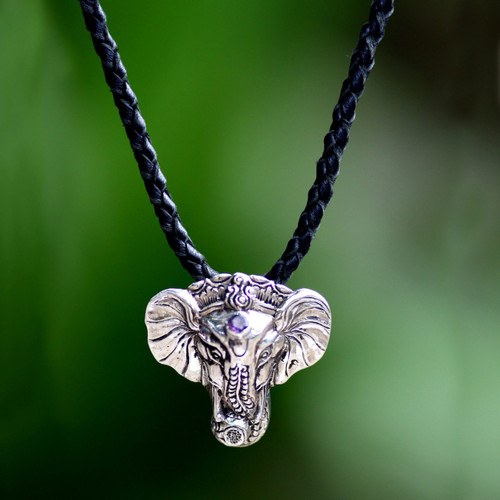Men's Handmade Sterling Silver and Amethyst Necklace 'Wise Ganesha'