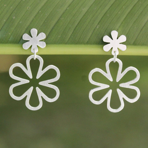 Handcrafted Floral Sterling Silver Dangle Earrings 'Flower Power'