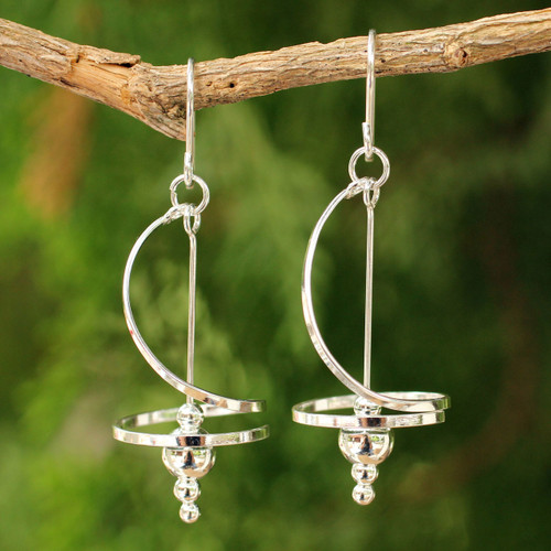 Fair Trade Modern Sterling Silver Dangle Earrings 'Pirouette'