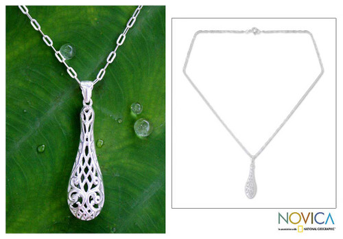 Handcrafted Sterling Silver Pendant Necklace 'Thai Lace'
