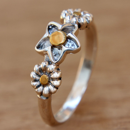 Bali Handmade Silver Heart Ring with 18k Gold Details 'Garland'