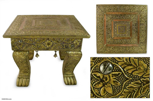 Hand Crafted Traditional Mango Wood Wood Accent Table  'Golden Garland'