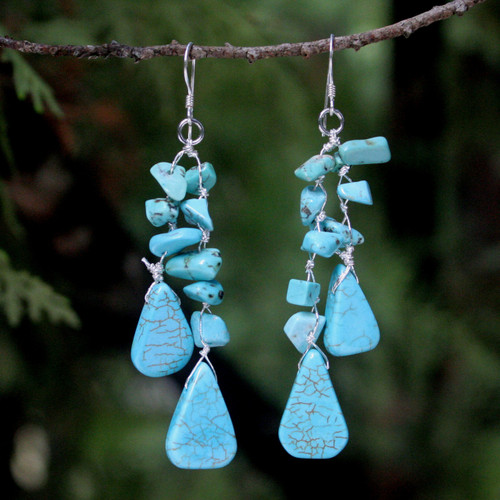 Unique Turquoise Colored Waterfall Earrings 'Falling Rain'