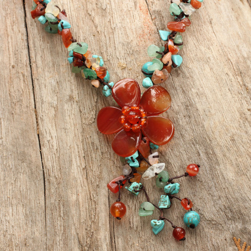 Agate and Carnelian Y Necklace 'Summer Flower'