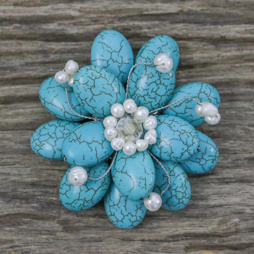 Floral Turquoise Colored Brooch Pin 'Blue Azalea'