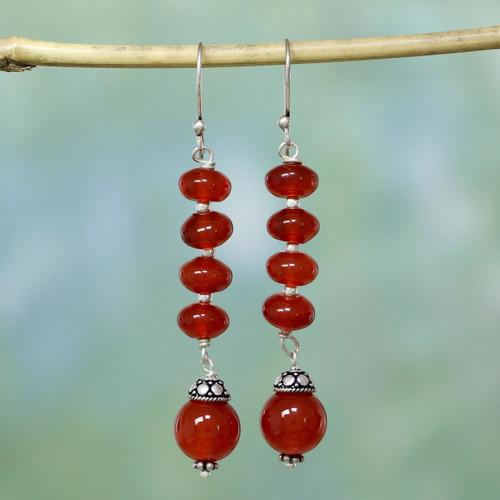 Carnelian dangle earrings 'Fire Fall'