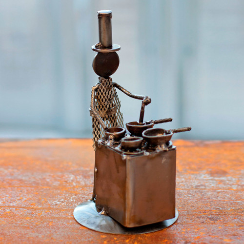 Recycled Metal Sculpture Rustic Mexico Eco Art 'Rustic Chef'