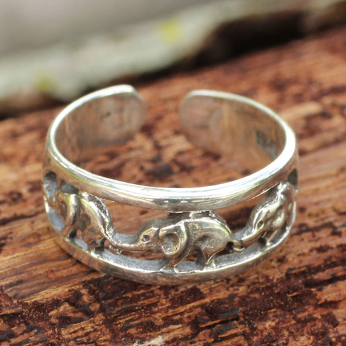 Thai Elephants Sterling Silver Toe Ring 'Elephant Walk'