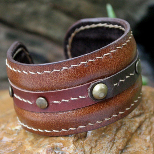 Handmade Leather Cuff Bracelet 'Going Solo'