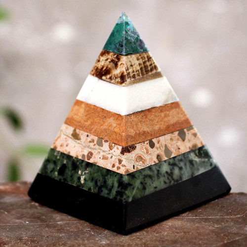 Hand Crafted Peruvian Gemstone Pyramid Sculpture 'Empowered'