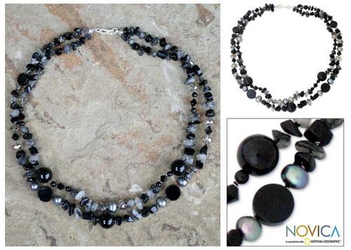 Beaded Quartz and Onyx Necklace 'Opulent Black'