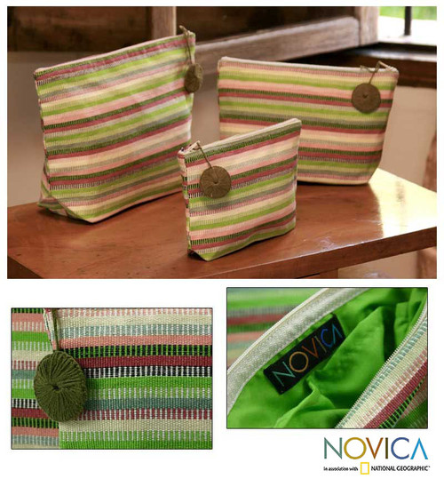 Striped Cotton Cosmetic Bags (Set of 3) 'Strawberry Lime'
