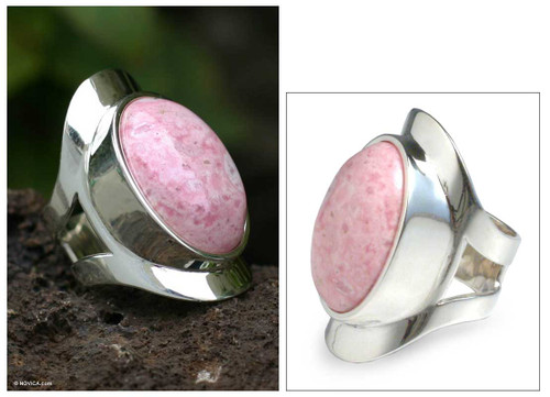 Sterling Silver Single Stone Rhodonite Ring 'Cradle of Love'