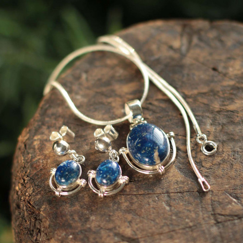 Handcrafted Lapis Lazuli Pendant and Earrings Jewelry Set 'Mystique'