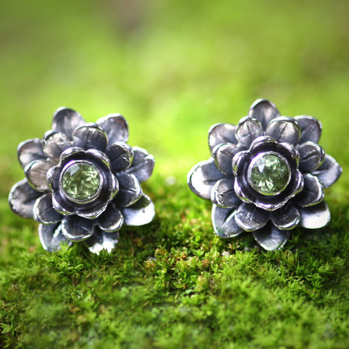 Unique Floral Peridot Sterling Silver Button Earrings 'Green-Eyed Lotus'