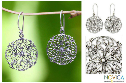 Floral Sterling Silver Earrings from Indonesia 'Remembrance'