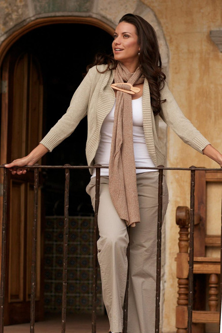 Women's Natural Cotton Cardigan Sweater 'Maya Beige'