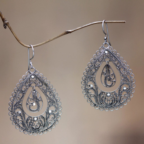 Sterling silver filigree earrings 'Water'