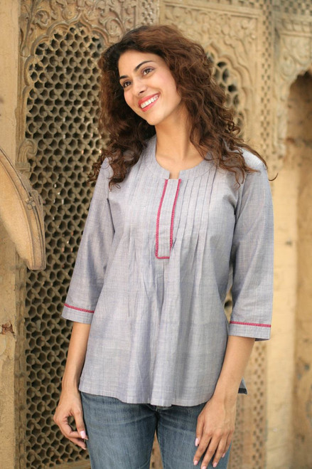 India Handwoven Cotton Blouse  'Blue Cloud'