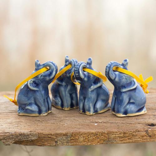 Celadon Ceramic Christmas Ornaments (Set of 4) 'Blue Elephant Heralds'